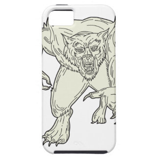 Werewolf Monster Running Mono Line iPhone 5 Cover