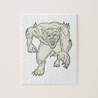 Werewolf Monster Running Mono Line Jigsaw Puzzle