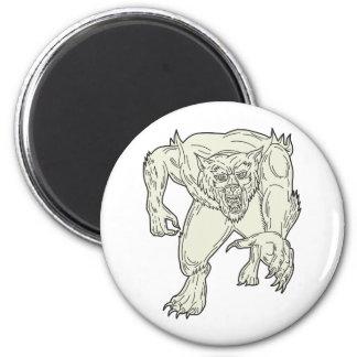 Werewolf Monster Running Mono Line Magnet