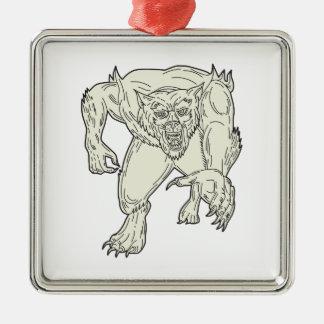 Werewolf Monster Running Mono Line Metal Ornament