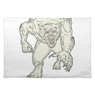Werewolf Monster Running Mono Line Placemat