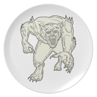 Werewolf Monster Running Mono Line Plate