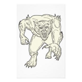 Werewolf Monster Running Mono Line Stationery