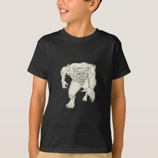 Werewolf Monster Running Mono Line T-Shirt