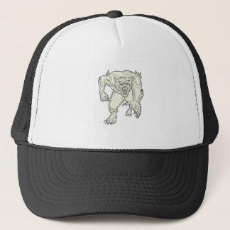 Werewolf Monster Running Mono Line Trucker Hat