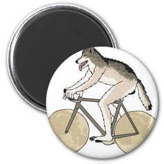 Werewolf Riding Bike With Full Moon Wheels 2 Inch Round Magnet