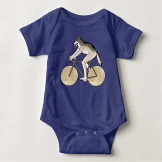 Werewolf Riding Bike With Full Moon Wheels Baby Bodysuit