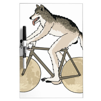 Werewolf Riding Bike With Full Moon Wheels Dry-Erase Whiteboards