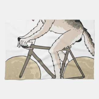 Werewolf Riding Bike With Full Moon Wheels Kitchen Towel