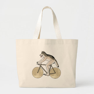 Werewolf Riding Bike With Full Moon Wheels Large Tote Bag