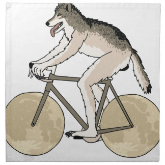 Werewolf Riding Bike With Full Moon Wheels Napkin