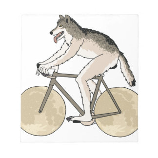 Werewolf Riding Bike With Full Moon Wheels Notepad