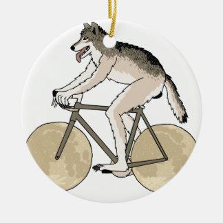 Werewolf Riding Bike With Full Moon Wheels Round Ceramic Ornament