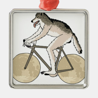 Werewolf Riding Bike With Full Moon Wheels Silver-Colored Square Ornament