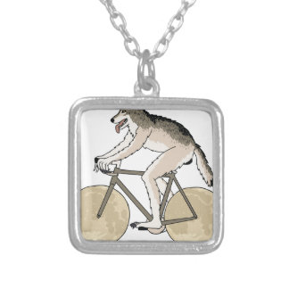 Werewolf Riding Bike With Full Moon Wheels Silver Plated Necklace