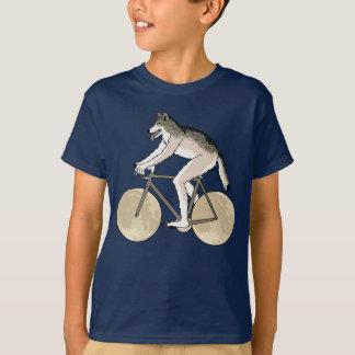 Werewolf Riding Bike With Full Moon Wheels T-Shirt