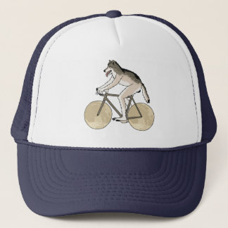 Werewolf Riding Bike With Full Moon Wheels Trucker Hat