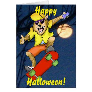 Werewolf Skateboarder Halloween Greeting Card