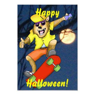 Werewolf Skateboarder Halloween Party Invitation