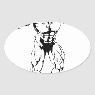 Werewolf wolf scary sports mascot oval stickers