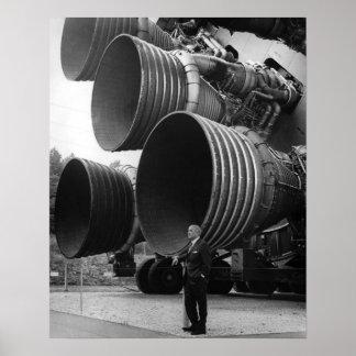 Werner von Bran and the Saturn V rocket Poster