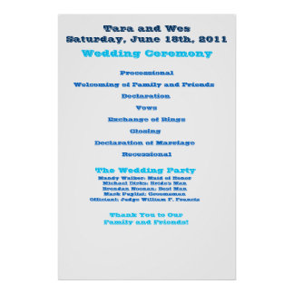 Wes and Tara Wedding Program Poster