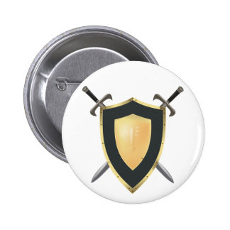 Wesnoth shield & crossed swords logo 2 inch round button