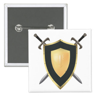 Wesnoth shield & crossed swords logo 2 inch square button