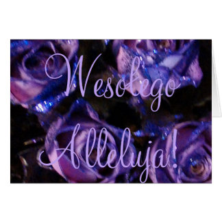 Wesołego Alleluja Polish Happy Easter Purple Roses Card