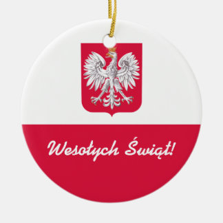 Wesołych Świąt Merry Christmas in Polish Ceramic Ornament
