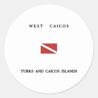 West Caicos Turks and Caicos Islands Scuba Dive Classic Round Sticker