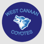 West Canaan Coyotes Round Sticker