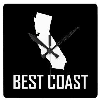 West Coast Best California White Square Wall Clock