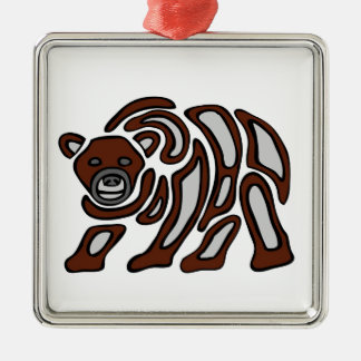 west coast grizzley Silver-Colored square ornament