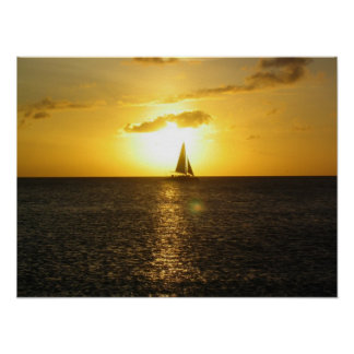 West coast of Aruba Sunset Sailboat on Horizon Poster