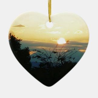 west coast sunset ceramic heart ornament