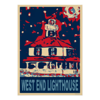 West End Light House and Moon Poster