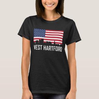 West Hartford Connecticut Skyline American Flag T-Shirt