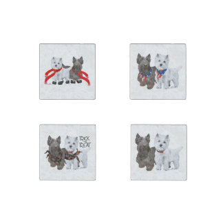 West Highland and Scottish Terriers Stone Magnets