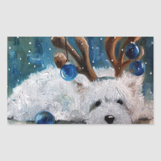 West Highland Terrier Blue Christmas Westie Dog Sticker