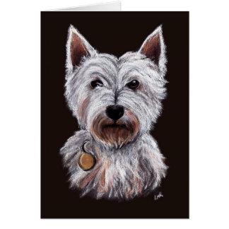 West Highland Terrier Dog Pastel Illustration Card