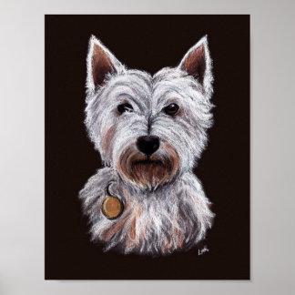 West Highland Terrier Dog Pastel Illustration Poster