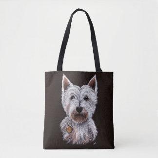 West Highland Terrier Dog Pastel Illustration Tote Bag