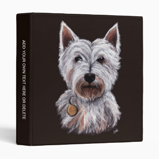 West Highland Terrier Dog Pastel Pet Illustration 3 Ring Binders