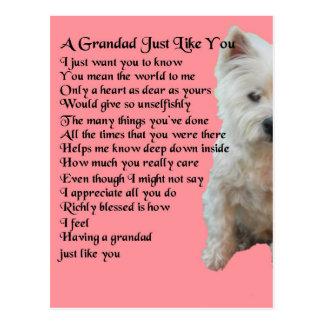 west Highland Terrier  Grandad Poem Postcard