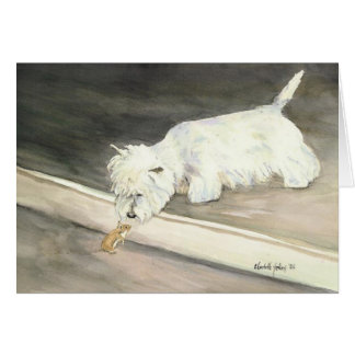 """West Highland Terrier Meets Hamster"" Notecards Card"