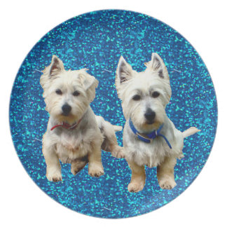 West Highland Terrier Plates. Plate