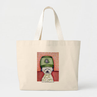 West Highland White Terrier at the Salon Large Tote Bag