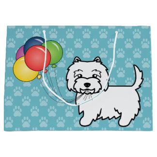 West Highland White Terrier Birthday Balloons Dog Large Gift Bag