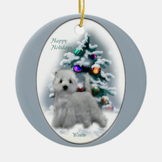 West Highland White Terrier Christmas Gifts Round Ceramic Ornament